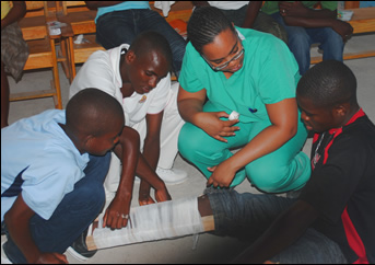 Francesca with public health trainees